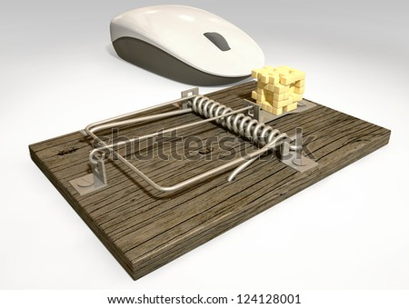A regular wood and metal mousetrap baited with a depiction of a block of cheese in pixels being looked at by a white computer mouse on an isolated background