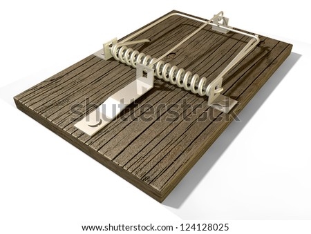 A regular wood and metal mousetrap on an isolated background