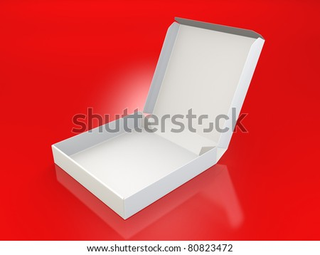 A render of a blank pizza box over red