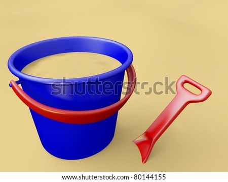 A render of a blue bucket and a red shovel over sand