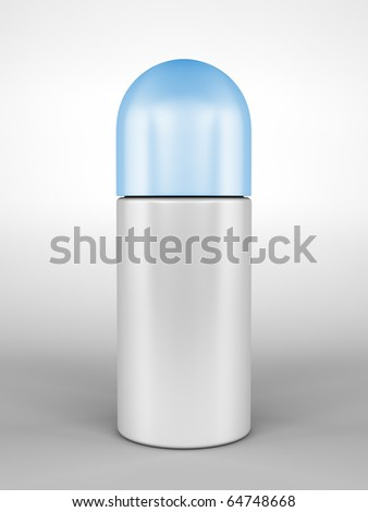 A render of a closed roll-on deodorant bottle