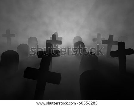 A render of a graveyard in a foggy night