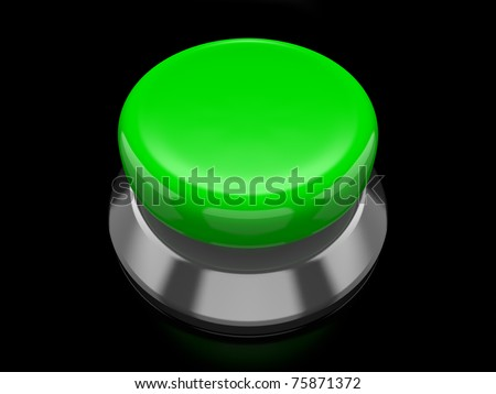 A render of a green button over a black reflective surface - stock photo