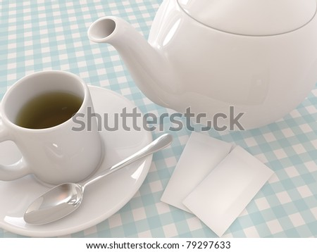 A render of a Teapot and a mug with tea, spoon and sugar