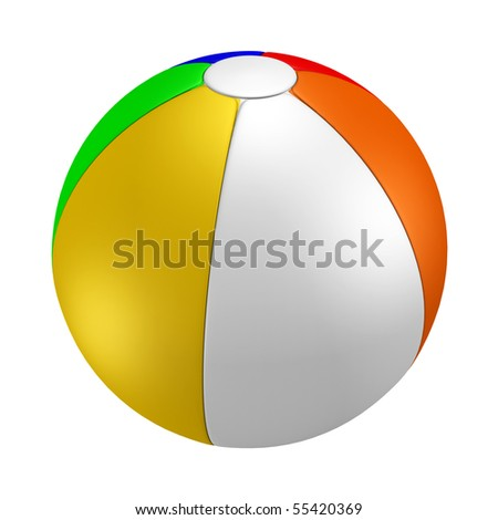 A render of an isolated colorful beach ball - stock photo