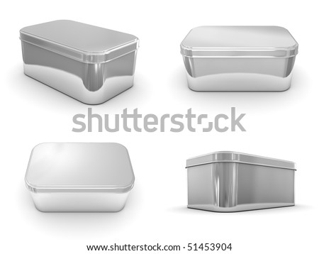A render of different views of a metallic box