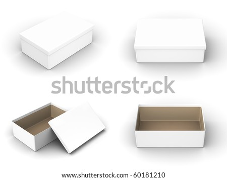 A render of different views of an isolated shoebox