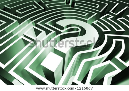 A rendering of a question mark maze