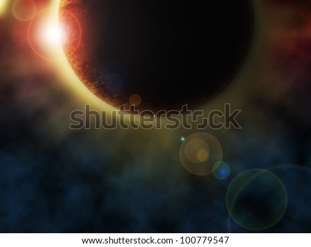 A rendition of a planet with an eclipse in outer space.