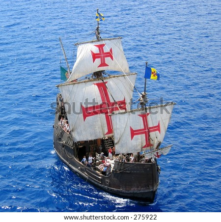 A replica of Christopher Columbus' ship Santa Maria ...