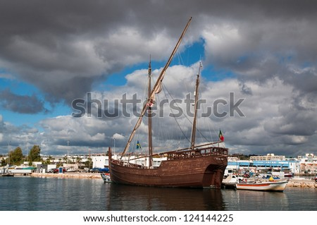A replica of the caravel of explorer Christoffer Columbus that is laying in the harbor of Lagos in Portugal