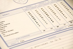 A report card showing a student's school marks.