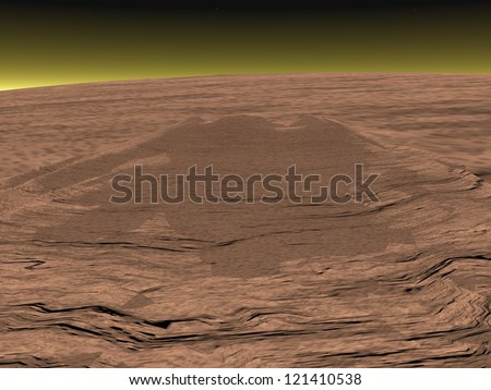 A representation of very high and big volcano Olympus Mons on Mars planet