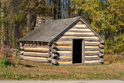 A Reproduction Log Cabin at Valley Forge National Historical Park