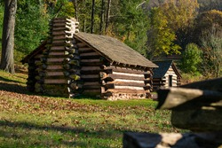 A Reproduction Log Hut at Valley Forge National Historical Park