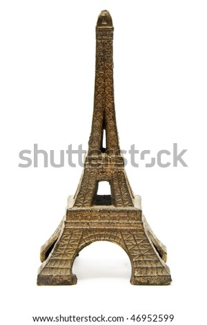 a reproduction of eiffel tower isolated on a white background