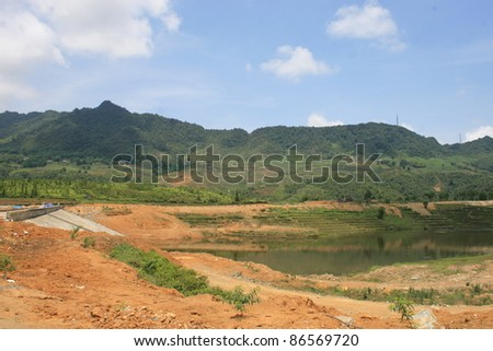 A Reservoir Being Built in the Northern Mountains of Vietnam