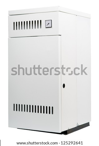 A residential gas heater, isolated on white