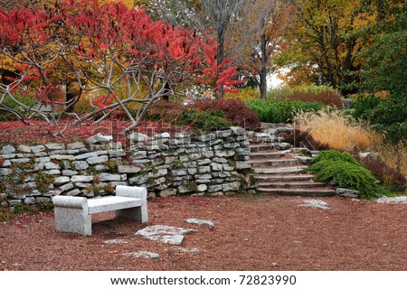 A Resting Place In The Garden During Autumn In The Park, Southwestern Ohio, USA