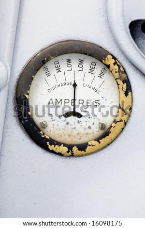 A retro steampunk style amp gauge - stock photo