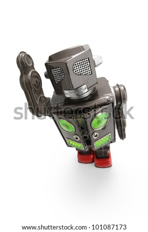 a  retro tin robot toy isolated on white background, top view