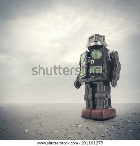 a  retro tin robot toy on an apocalyptic background