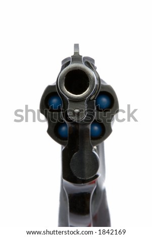A revolver pointing directly at your face. White background.