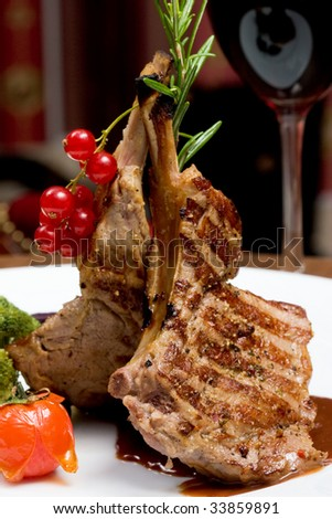 A Rib Steak, selective focus on meat. - stock photo