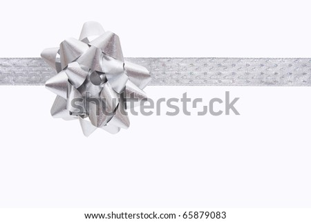 A ribbon and bow on a white background, christmas present