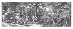 A richly dressed gentleman shoots a bear in the back from his horse. Another gentleman impales the beast with a spear, also from his horse. Dogs and servants with spears also attack the animal.