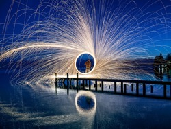 A ring of fire at the lake