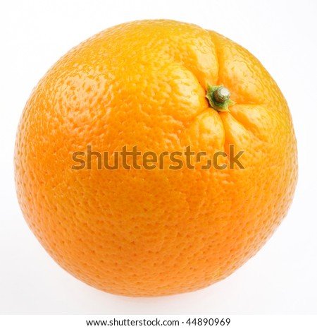 A ripe orange on a white background