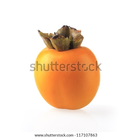 a ripe persimmon fruit isolated white
