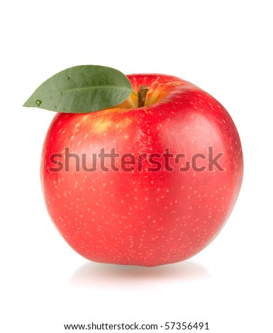A ripe red apple with green leaf. Isolated on white background.
