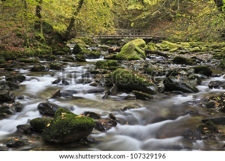 A river running through woodland in Autumn - stock photo