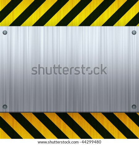 A riveted 3d brushed metal plate on a construction hazard stripes background. - stock photo