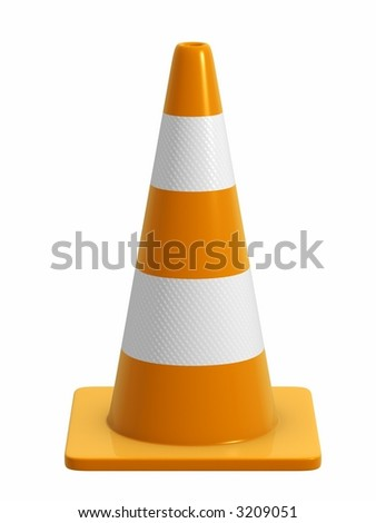 A road cone with reflective bands. Design component. *Direct side view version*
