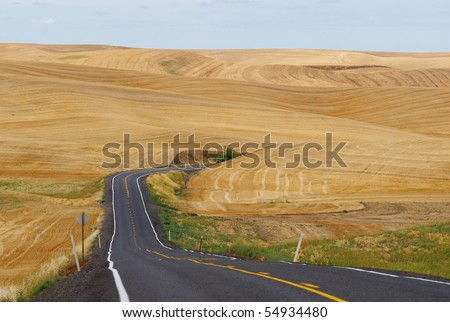 A road cuts through wheat fields, after the harvest in the Palouse, eastern Washington's wheat growing region.