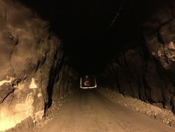 A road for truck in the underground tunnel.