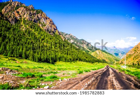 A road in a mountain valley among the hills. Mountain road view. Road in mountains