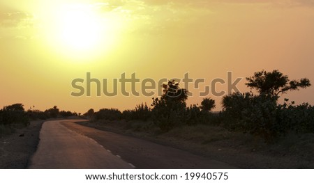 A road in India\'s Rajasthan province, the sun and warm yellow sky.
