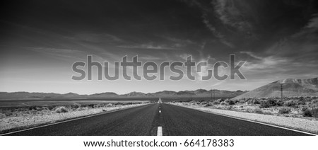 A road in the Death Valley National Park, California. Black and White
