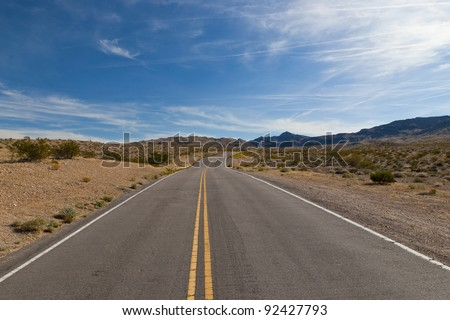 A road in the desert of Nevada, USA