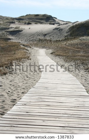 A road of planks going deep into the sand