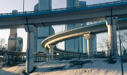 A road overpass under construction near the Moscow business center