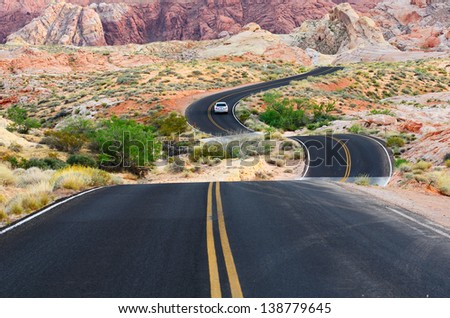 A road runs through it in the Valley of Fire State Park near Las Vegas Nevada