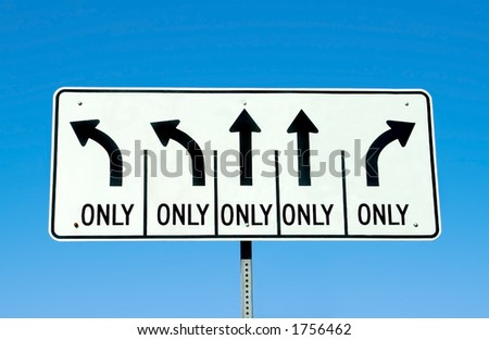 A road sign depicting many choices.