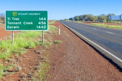 A road sign for Darwin and Tennant Creek on the Stuart Highway in Australia's Northern Territory