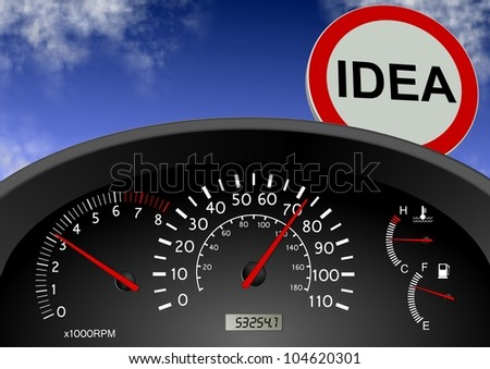 a road sign in front of a car spelling a word idea / idea ahead