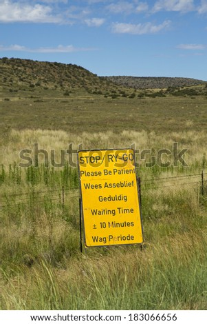 A road sign in South Africa warning drivers of road works ahead